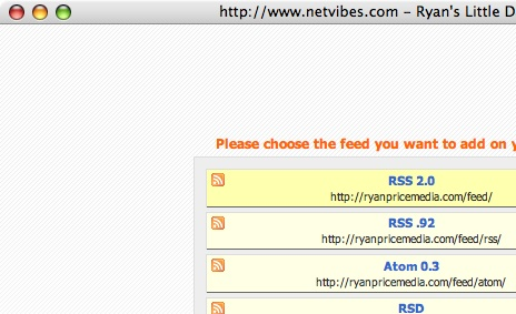 Results of the Netvibes Bookmarklet
