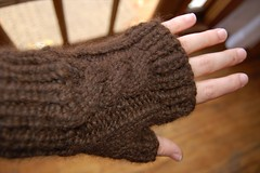 cabled fingerless mittens