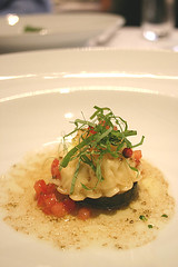 Ravioli of Lobster & Crab with Shellfish Essence