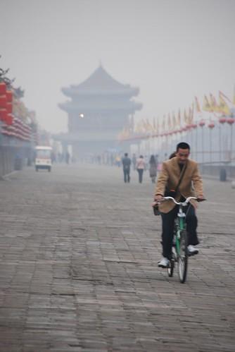 Biker On Xi'an City Wall