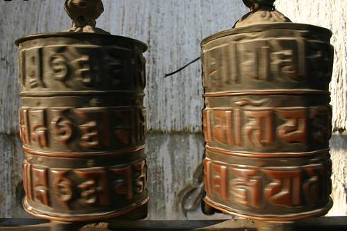Turning prayer wheels at  Swayambunath, Kathmandu