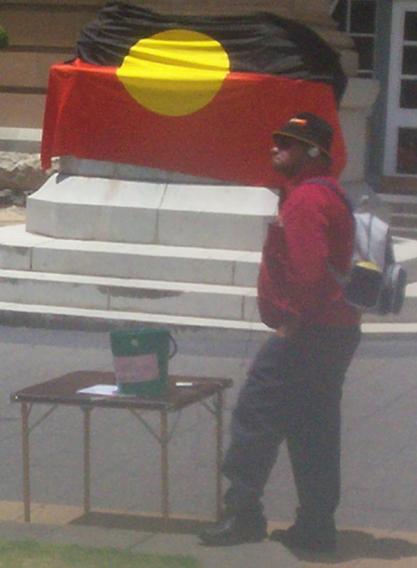 Tiga Bayles of 4AAA-FM records speeches, prayers, songs and poetry - Justice for Mulrunji Rally at Queens Park and March through Brisbane City, Australia, November 18 2006