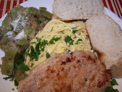 Pork Piccata and Italian Green Beans