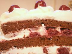 a slice of black forest cake