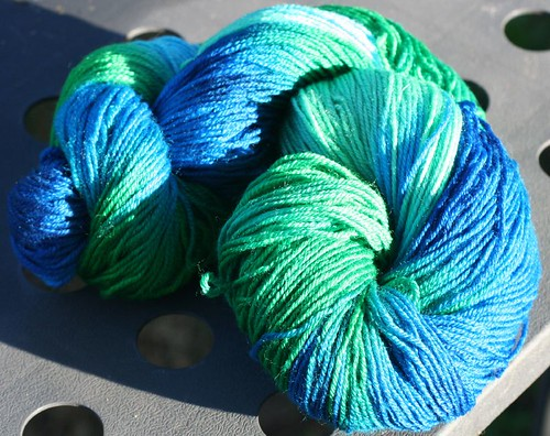 Hand-dyed yarn, 95% merino 5% cashmere, blues/greens 2