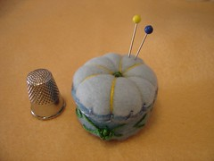 padded blue pincushion