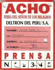 Credencial de prensa Acho 90s