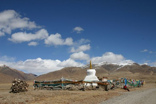 Prayer wheels & prayer flags in Huore, Western Tibet...
