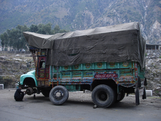 Bedford lorry with flat tyre in Besham on the Karakoram Highway