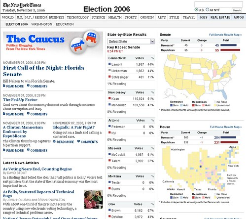 NYT 2006 Election Page Design - Front