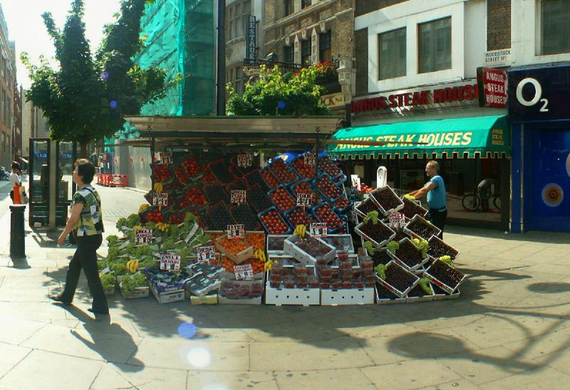 Fruit Stall on junction of Oxford Street and New Bond Street, London
