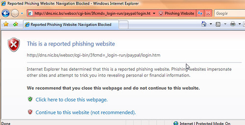 IE 7 blocking the Paypal phishing site