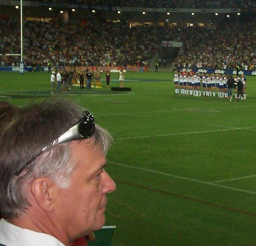 Fan watches the big screen for players' reactions while 'Advance Australia Fair' is played - Kangaroos v British Lions Rugby League Test Match - Lang Park (Suncorp Stadium), Brisbane, Australia, November 18th 2006