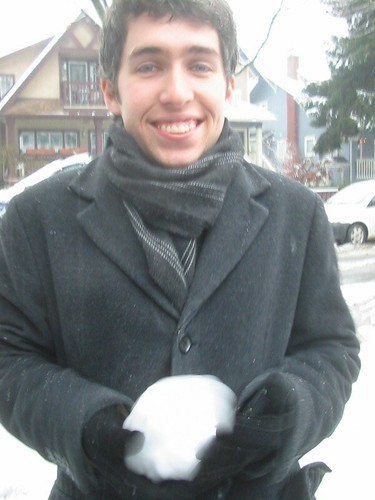 Alex makes a snowball