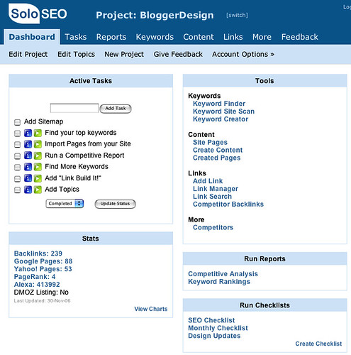 SoloSEO Dashboard