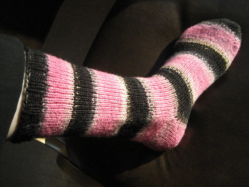 Pink Panther socks, first sock done!