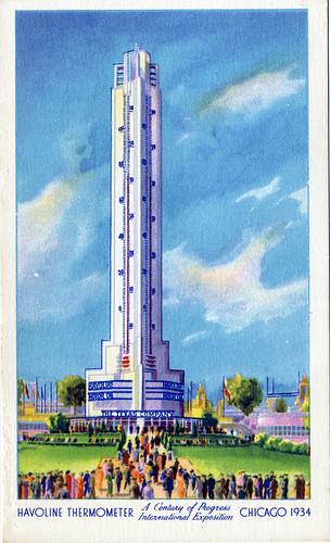 Postcard: Havoline Thermometer Bldg
