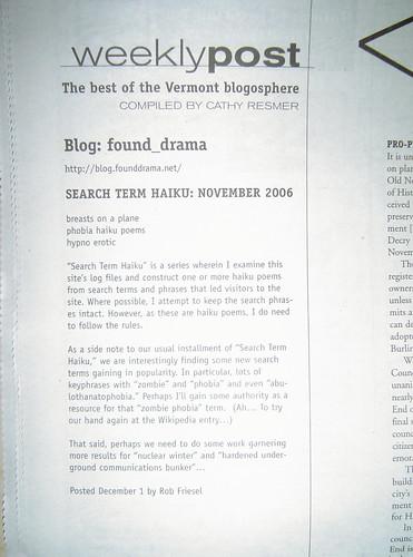 Weekly Post: 06-Dec-2006