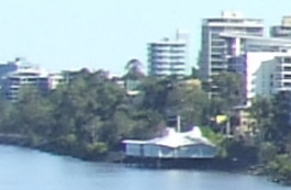 Oxley's Restaurant - detail of River Panorama - from the Merivale Bridge, crossing the Brisbane River between Brisbane and South Brisbane, Queensland, Australia, looking towards Milton and Toowong-5