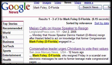 AP Switches Mark Foley's Party