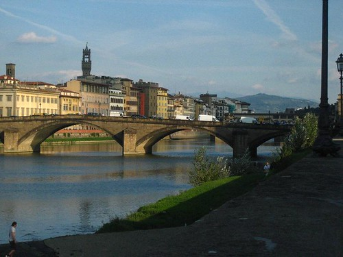 View back across the Arno
