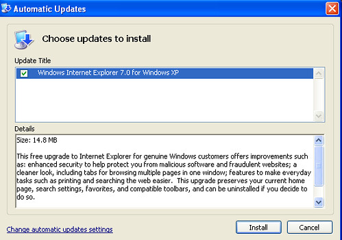 IE & update notification