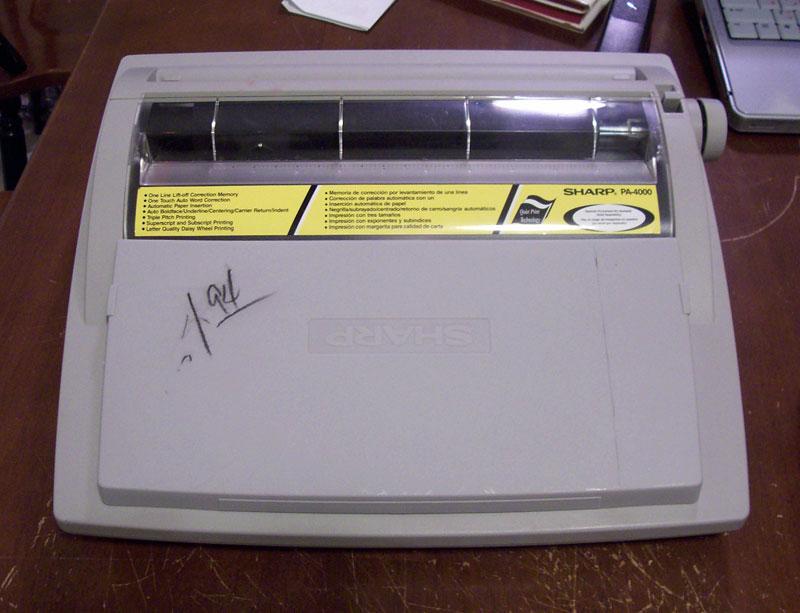 a sharp typewriter