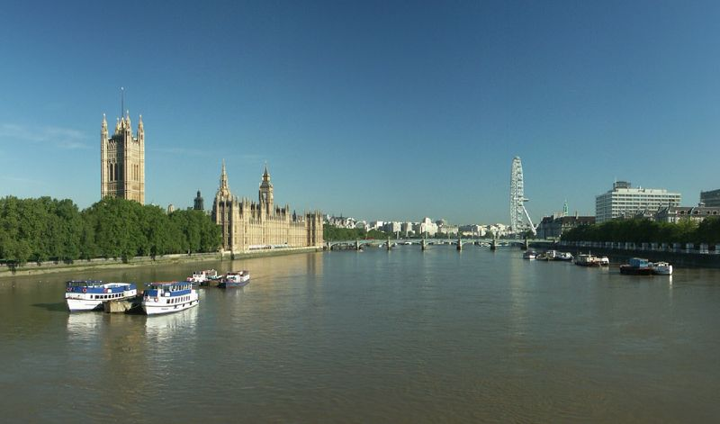 View of Palace of Westminster and London Eye from Lambeth Bridge
