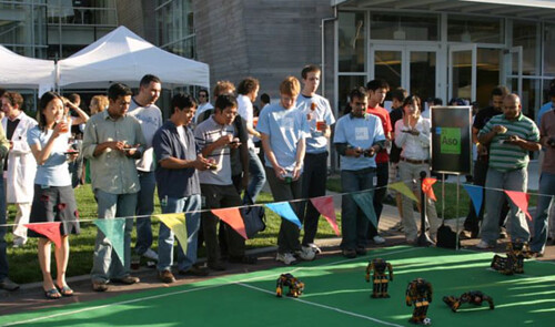 Googlers teaching Robots to play soccer