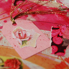 Rose tag detail of collage
