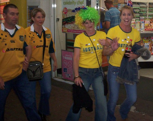 Australian supporters in George St, Brisbane City, before the game - Kangaroos v British Lions Rugby League Test Match - Lang Park (Suncorp Stadium), Brisbane, Australia, November 18th 2006