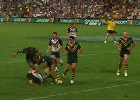 Kangaroos leap and pounce - Kangaroos v British Lions Rugby League Test Match - Lang Park (Suncorp Stadium), Brisbane, Australia, November 18th 2006