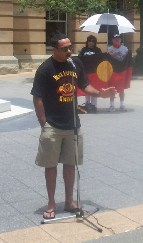 Alec Doomadgee, Mulrinji's brother, speaks to the rally - Justice for Mulrunji Rally at Queens Park and March through Brisbane City, Australia, November 18 2006