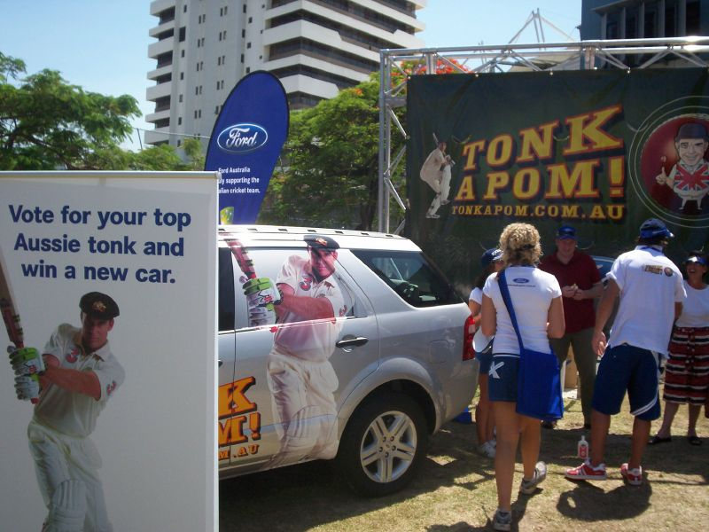 Sponsors display outside the Gabba - Ford - The Ashes 2006-7 - First Test - Atmosphere in town, outside the Gabba, and watching the game on a big screen at the 'beach' in Southbank.