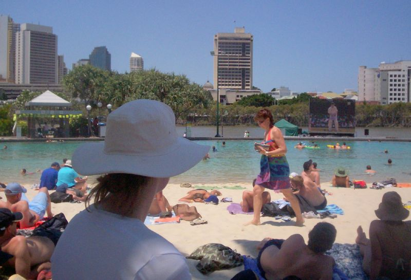 Watching the game at Streets Beach, South Bank - The Ashes 2006-7 - First Test - Atmosphere in town, outside the Gabba, and watching the game on a big screen at the 'beach' in Southbank.