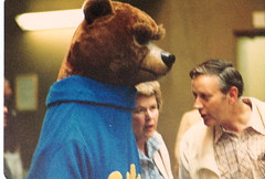 Mom and Dad talk to man in bear suit 1980