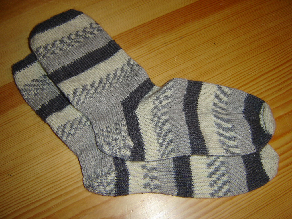 Grey Self patterning socks