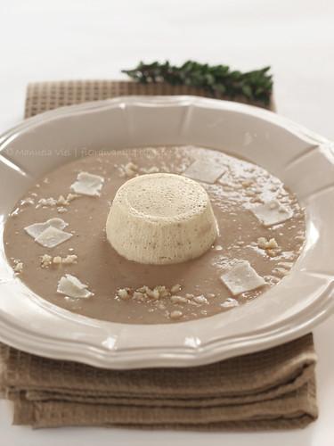 Crema di riso integrale e castagne con budino di fior di nasello