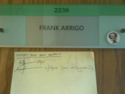 The name on the door says Frank Arrigo
