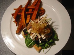 Onion stuffed Pork Burgers with Enoki & Sweet Potato Fries