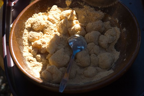 mochi in a soybean powder mixed with sugar (called Kinako)