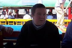 Cole in boat at Xochimilco