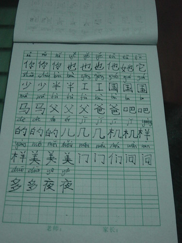 Chinese writing notebook