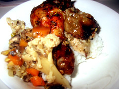 Rosemary Chicken: Final Serve with Steamed Rice.