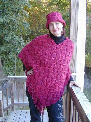 Entrelac Poncho & Matching Hat