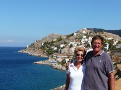 Judy and Peter on Hydra, Greece