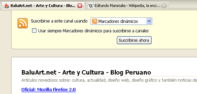 Firefox 2.0: Canales RSS