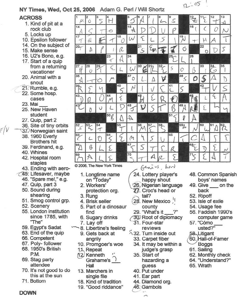 Rex Parker Does The NYT Crossword Puzzle October 2006