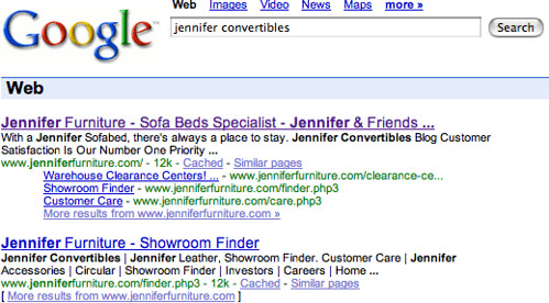 Jennifer Convertibles Back In Google Results