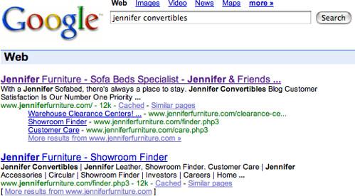 Jennifer Convertibles Back In Google Results